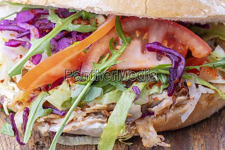 closeup of a doner sandwich