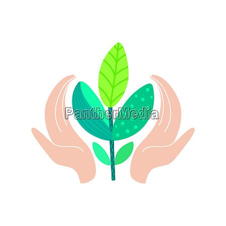 world environment day concept human hands