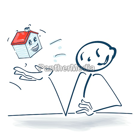 stick figure with a house in