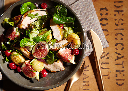 wild game salad with pheasant chestnuts