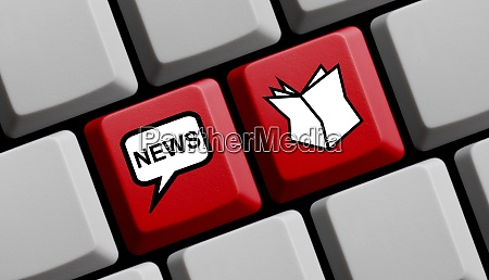 red computer keyboard newspaper news