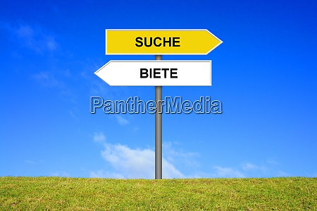 signpost showing search and offer german