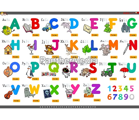 alphabet with cartoon characters set
