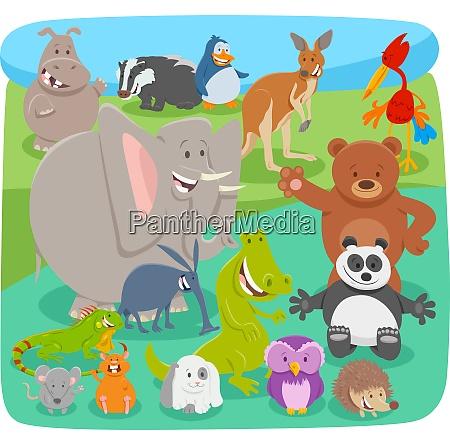 happy cartoon animal characters background