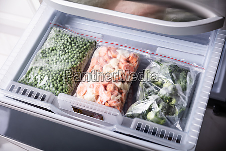 frozen vegetables in the fridge