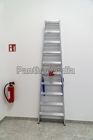 fire extinguisher and ladder