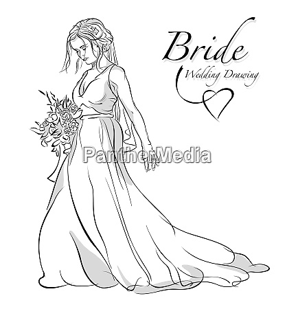 drawing bride holding bouquet