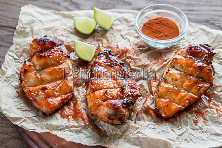 grilled chicken breasts in hot mango