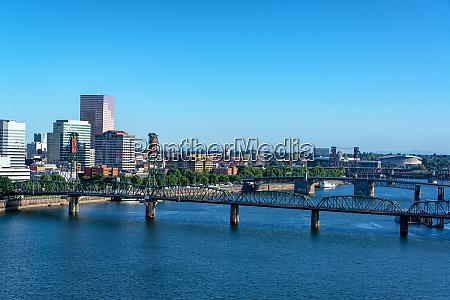 hawthorne bridge and portland cityscape