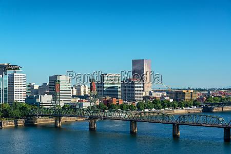 downtown portland oregon cityscape view