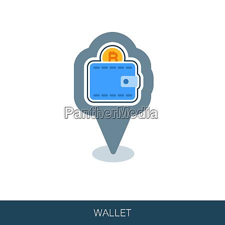 crypto wallet vector pin map icon
