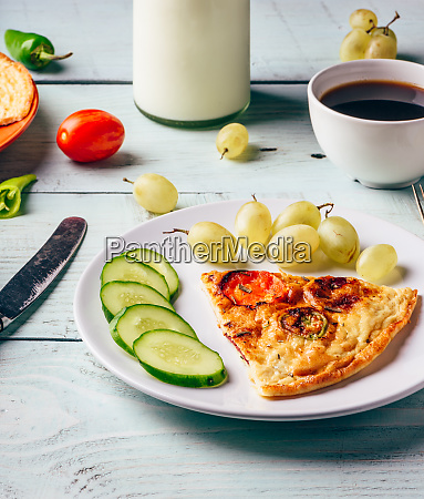 healthy breakfast with frittata and cup