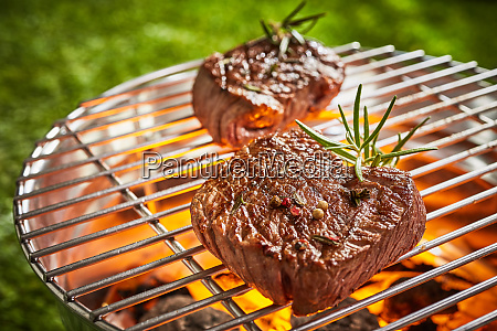 two thick prime mature beef fillet