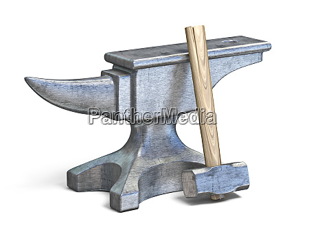 blacksmith anvil and hammer 3d