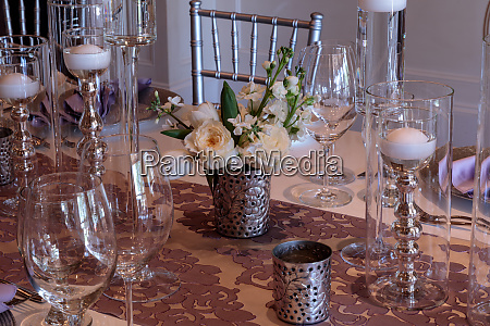 purple place setting with a lilac