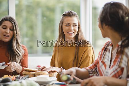 enjoying lunch conversations