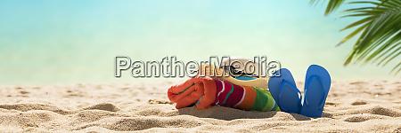 beach accessories straw hat flip flops
