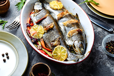 trout with bacon and vegetables