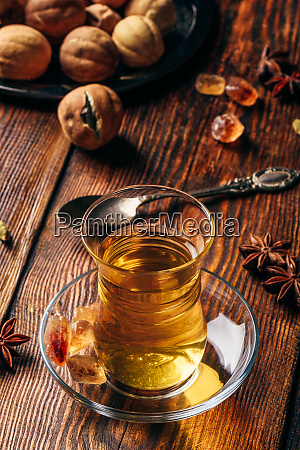 spiced tea in oriental glass