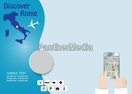 discover rome tourism tempate concept vector