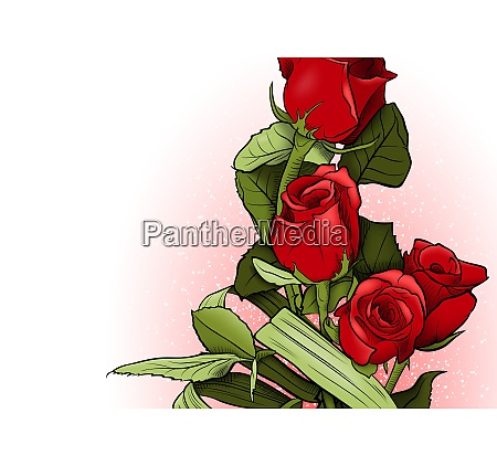red roses bouquet greeting card