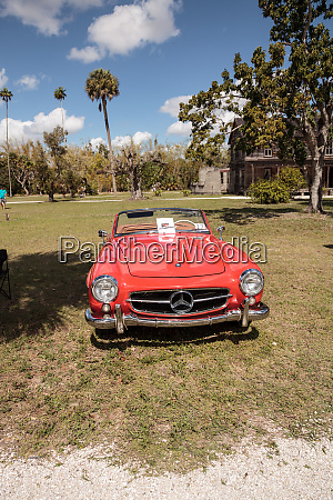 red 1957 mercedes benz 190sl at