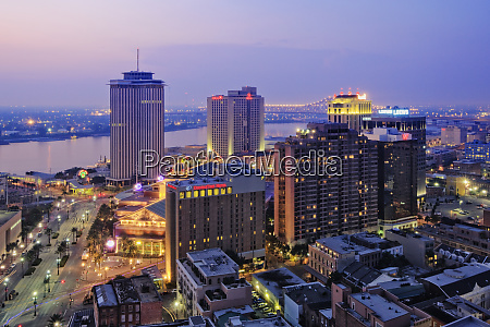 downtown new orleans at dusk