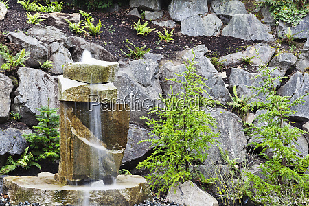 rocks and water feature