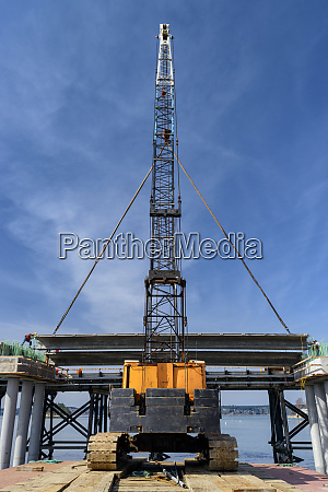 low angle view of crane and
