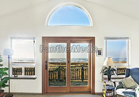 double doors of modern house on