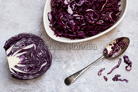 a dish of cooked red cabbage