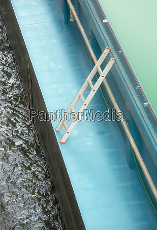 high angle view of ladder on