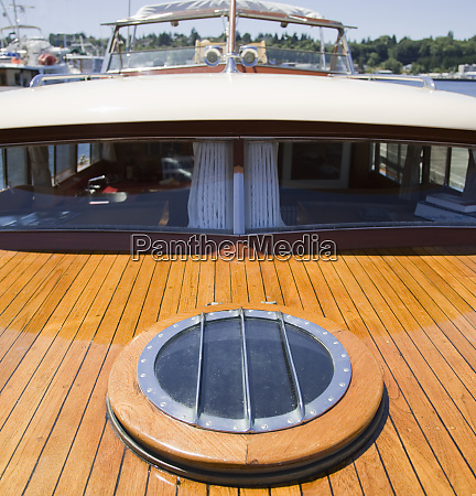 high angle view of yacht deck