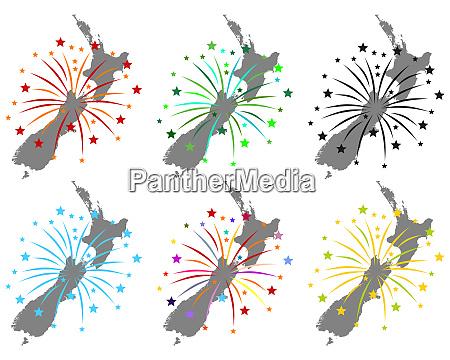 karte von neuseeland mit feuerwerk