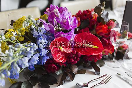 still life vibrant tropical table bouquet