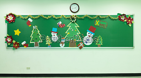 classroom chalkboard decorated for christmas