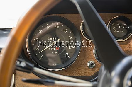 close up of speedometer in retro