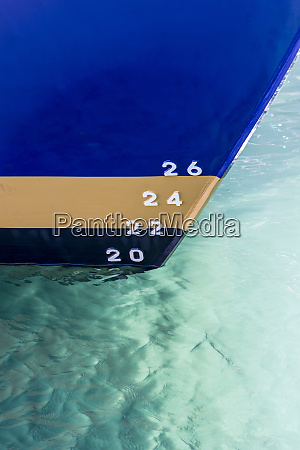 depth markers painted on ship hull