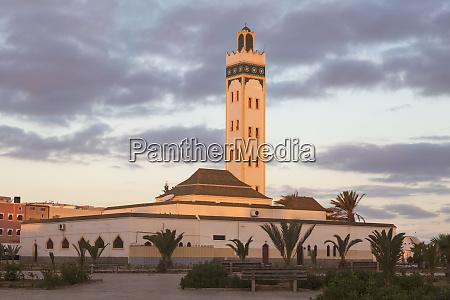 eddarham mosque at sunset in dakhla