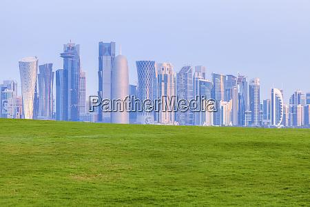 lawn by skyline of doha qatar