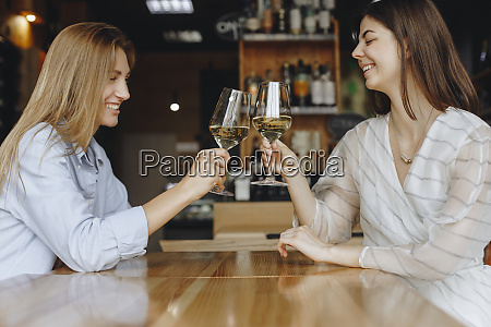 young women toasting with glasses of