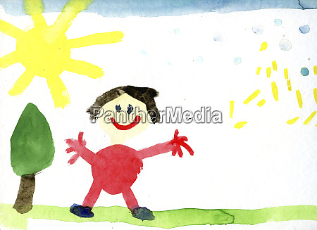 childrens drawing of happy human