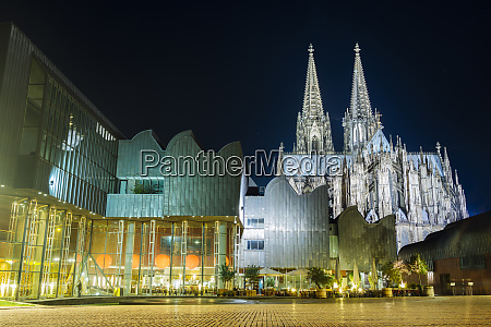 germany cologne view to lighted museum