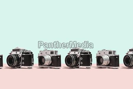 photo cameras organized in a row