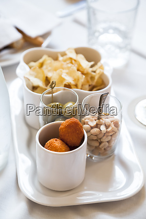 set with fried stuffed olives allascolana