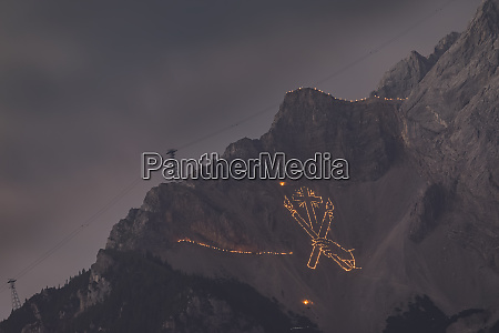 austria tyrol zugspitze midsummer fire