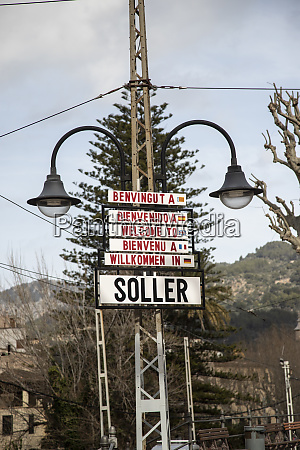 spain mallorca soller welcome signs at