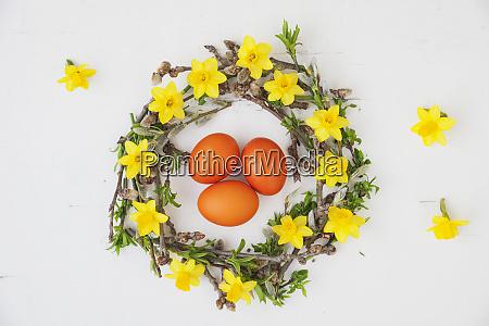 self made easter wreath and orange