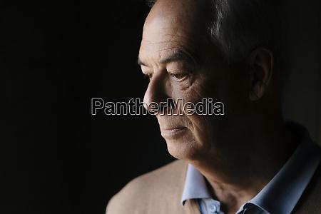 close up of serious senior man