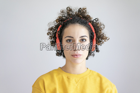 portrait of woman wearing headphones